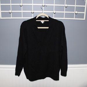 Black Knit V Neck Sweater